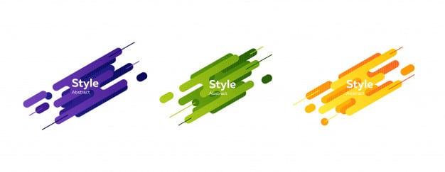 Set of blue, green, orange abstract modern splash shapes banner Free Vector