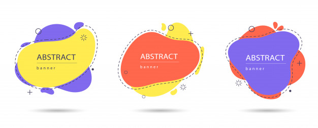 Set of modern abstract banners. modern colorful abstract shapes Premium Vector