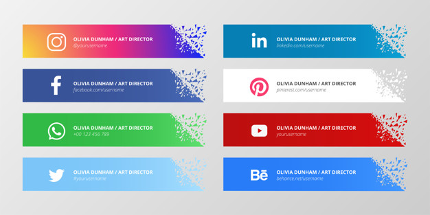 Social media lower third collection with broken shapes Free Vector