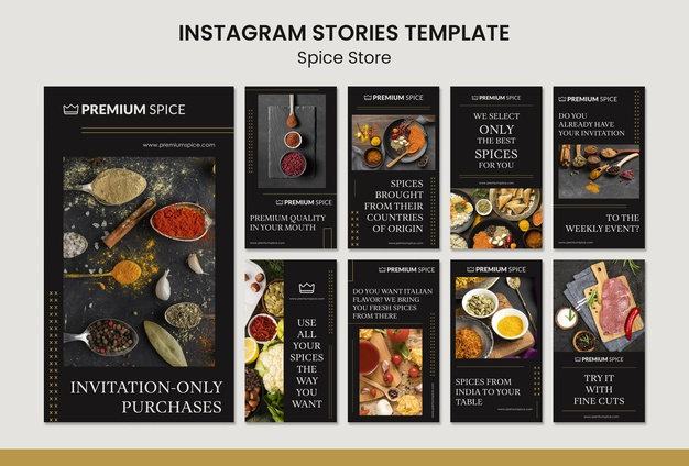 Spice store concept instagram stories template Free Psd