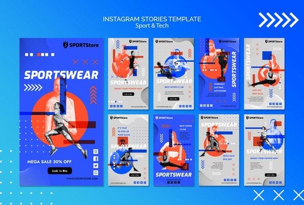 Sport & tech template for instagram stories Free Psd