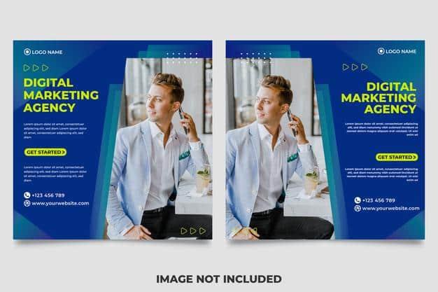 Square banner for social media post template themed digital marketing Premium Vector