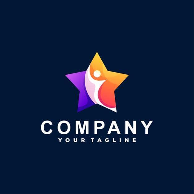 Star color gradient logo design Premium Vector