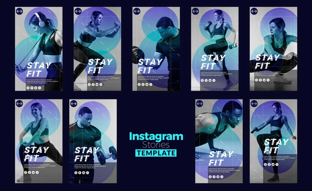 Stay fit concept instagram stories template Free Psd