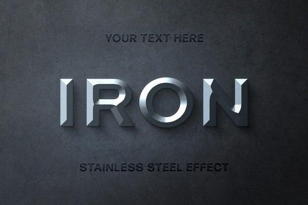 Steel 3d text effect template Premium Psd