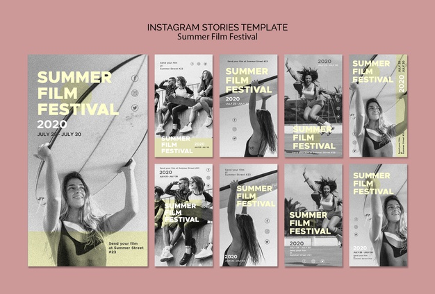 Summer film festival instagram stories template Free Psd