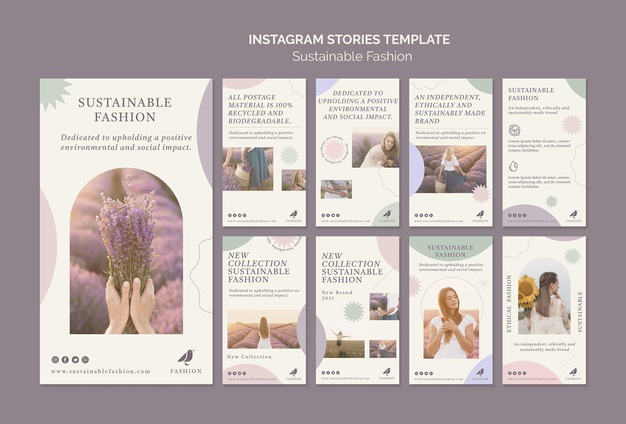 Sustainable fashion social media stories template Premium Psd
