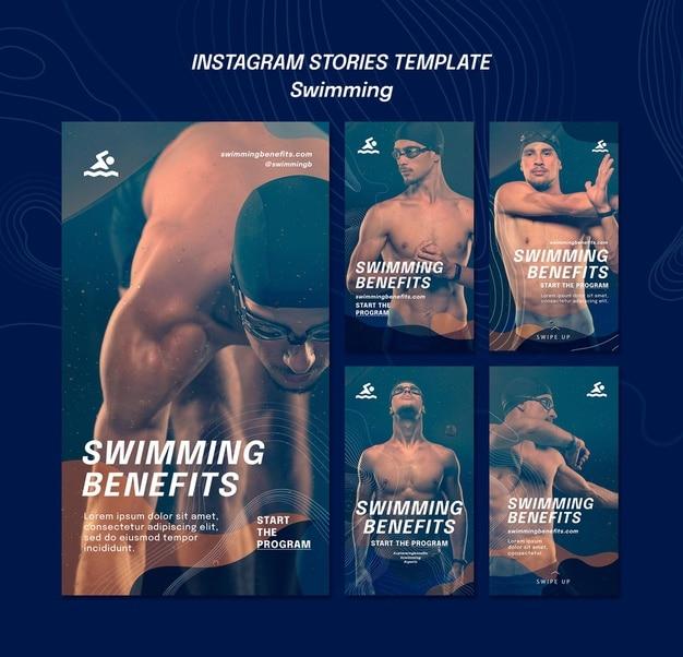Swimming benefits instagram stories template Premium Psd