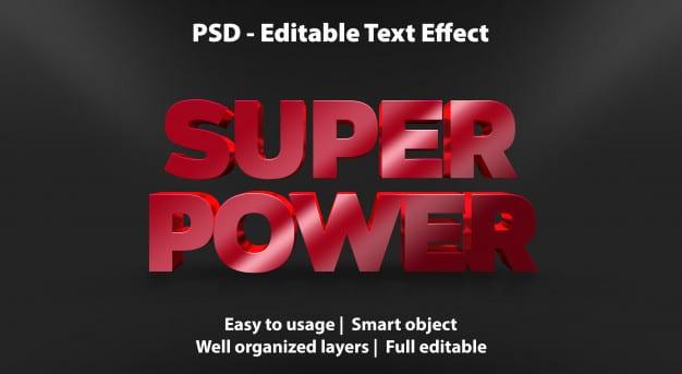 Text effect super power template Premium Psd