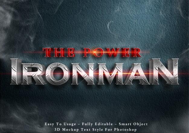 The power ironman - 3d text style effect Premium Psd