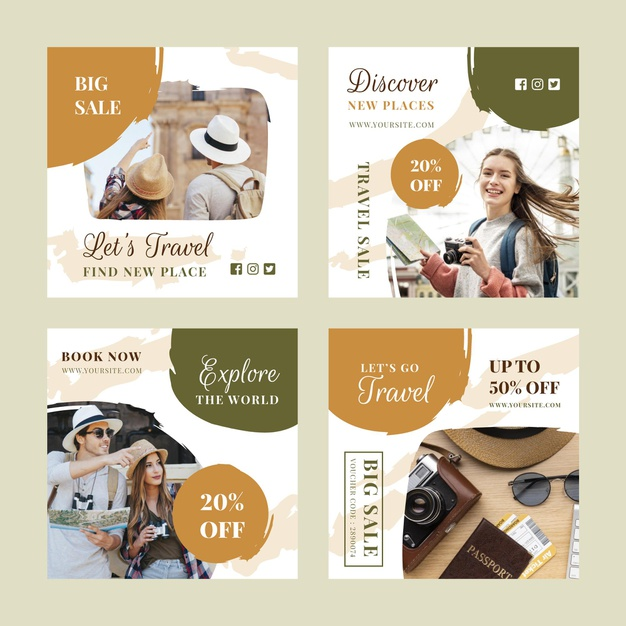 Travel instagram post collection with brush strokes Free Vector