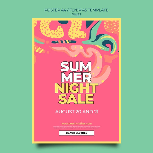 Vertical poster template for summer sale Free Psd