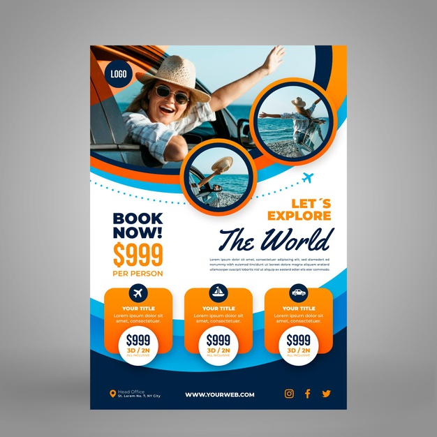 Vertical travel flyer template with photo Free Vector