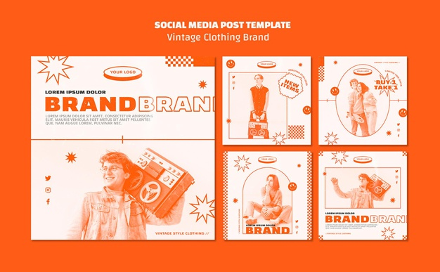 Vintage clothing brand posts template Free Psd