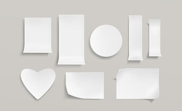 White paper stickers set Free Vector
