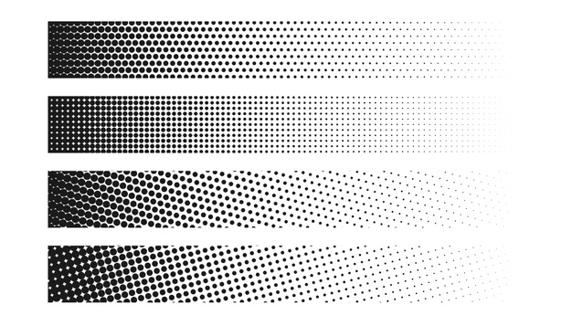 Wide halftone banner set of four Free Vector