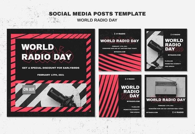 World radio day instagram posts template Free Psd
