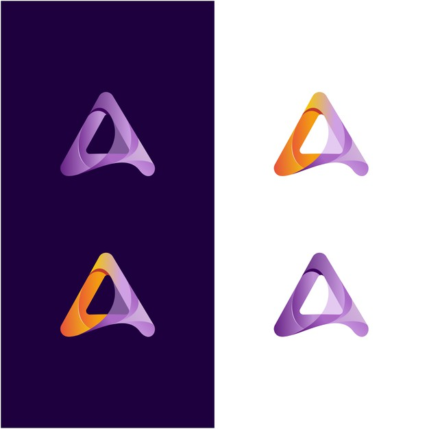 Abstract letter a awesome color Premium Vector