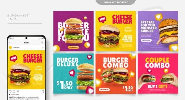 Burger social media feed post template Premium Vector