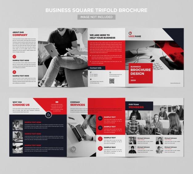 Business square trifold brochure design Premium Psd