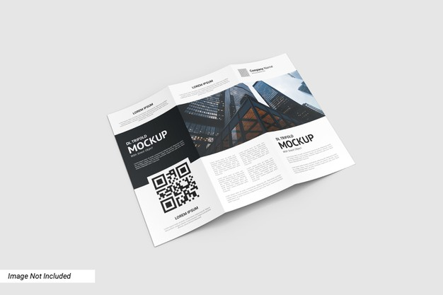 Close up on trifold flyer mockup isolated Premium Psd