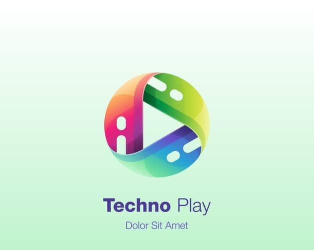 Colorful circle play technology logo Premium Vector