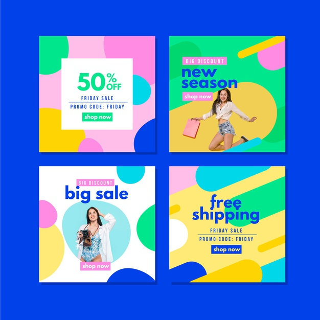 Colorful sales ig post collection Free Vector