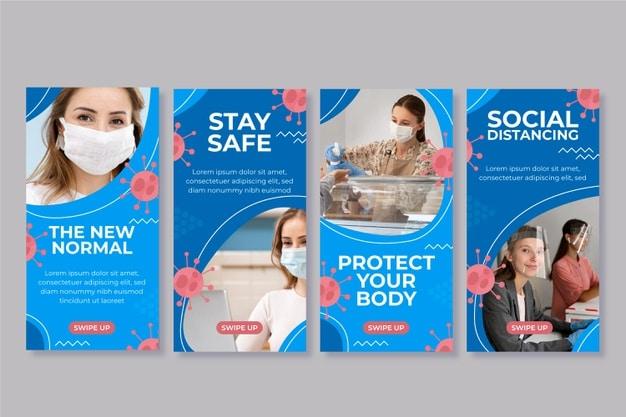 Coronavirus instagram stories Premium Vector