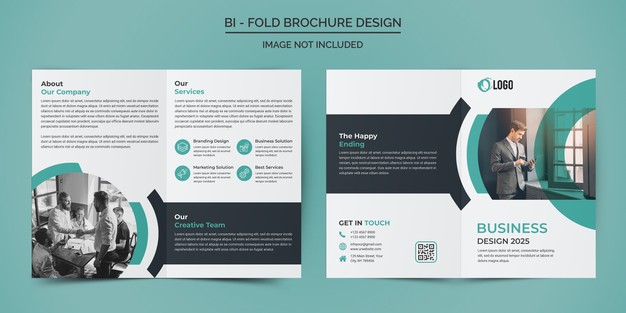 Corporate business bifold brochure design template Premium Psd