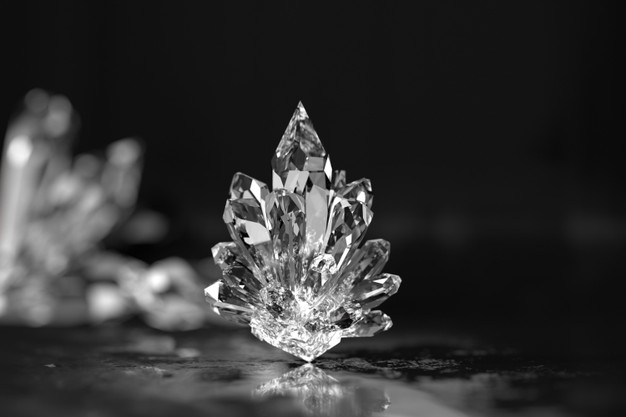 Crystals close up with soft focus background 3d render Premium Photo
