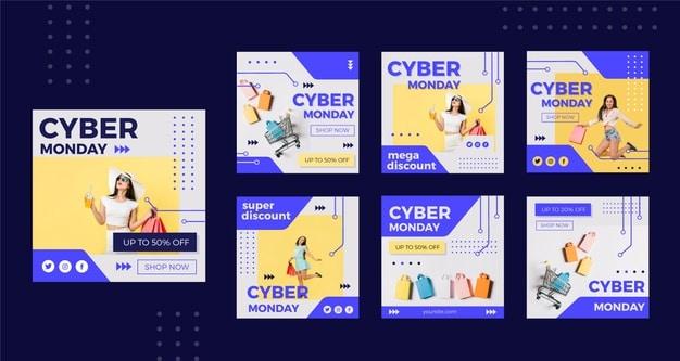 Cyber monday instagram posts set Premium Vector