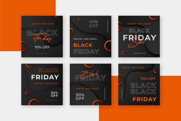 Flat design black friday instagram post Free Vector