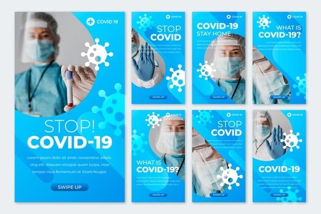 Gradient coronavirus instagram story collection Free Vector