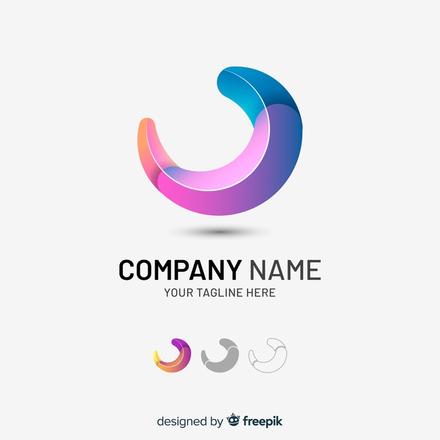 Gradient tridimensional abstract company logo Free Vector