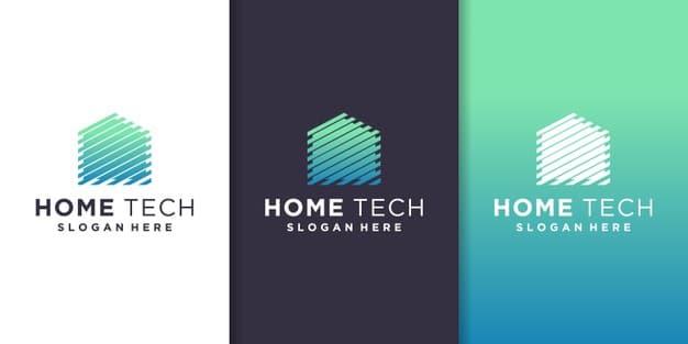 Home tech logo template Premium Vector