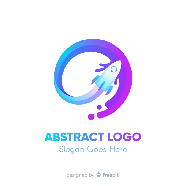 Logo template with abstract shapes Premium Vector