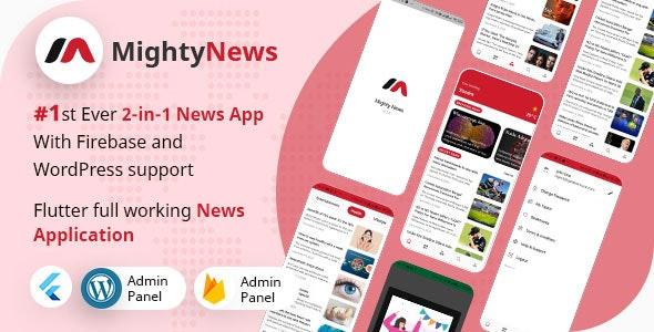 MightyNews - Flutter 2.0 News App with Wordpress + Firebase backend