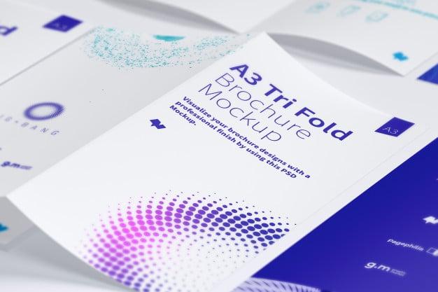 Open trifold brochure mockup Premium Psd