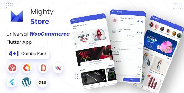 MightyStore E-commerce Flutter Full App: Single + Dokan Multi Vendor + WCMp + Admin App