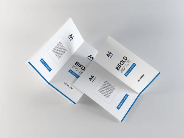 Realistic a4 bifold brochures mockup Premium Psd
