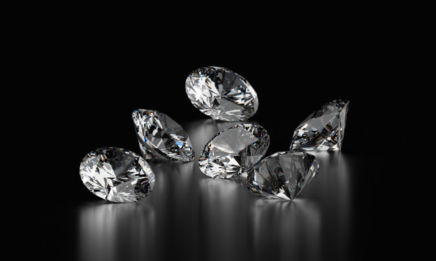 Realistic diamonds on black background Premium Photo