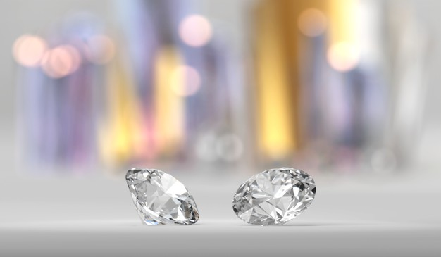 Shiny brilliant diamond couple, 3d rendering Premium Photo
