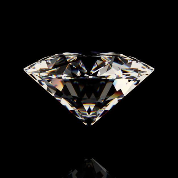 Shiny white diamond on black background Premium Photo