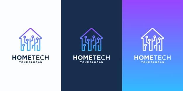 Smart home modern logo design, tech home Premium Vector