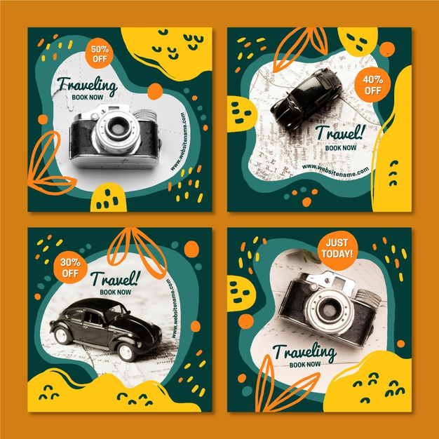 Travel instagram post collection Free Vector