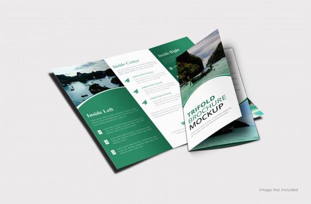 Trifold brochure mockup template Premium Psd