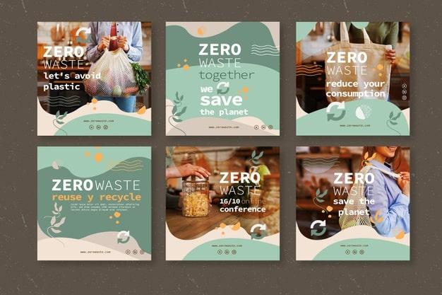 Zero waste instagram posts template Premium Vector