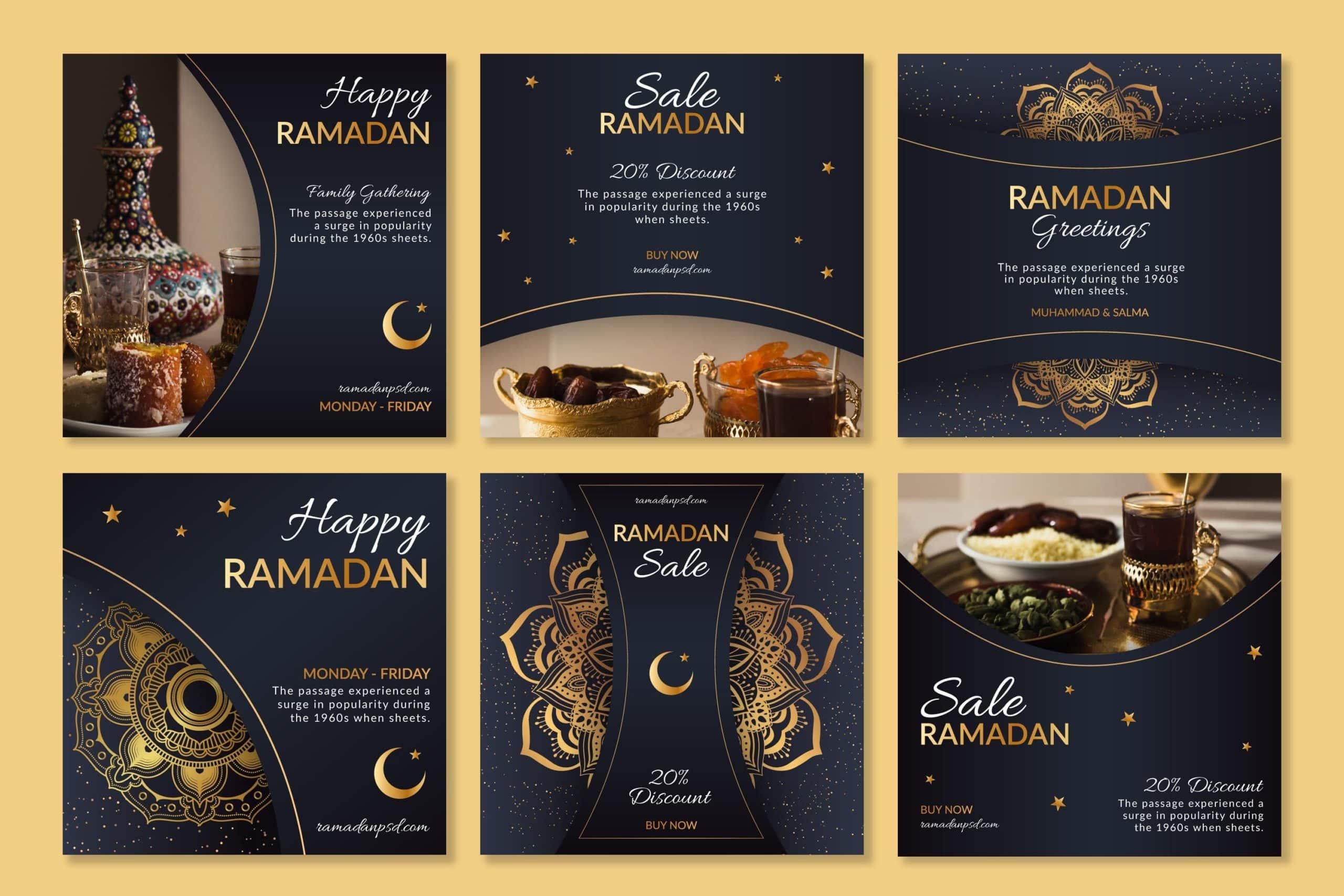 Ramadan instagram posts collection Free Vector