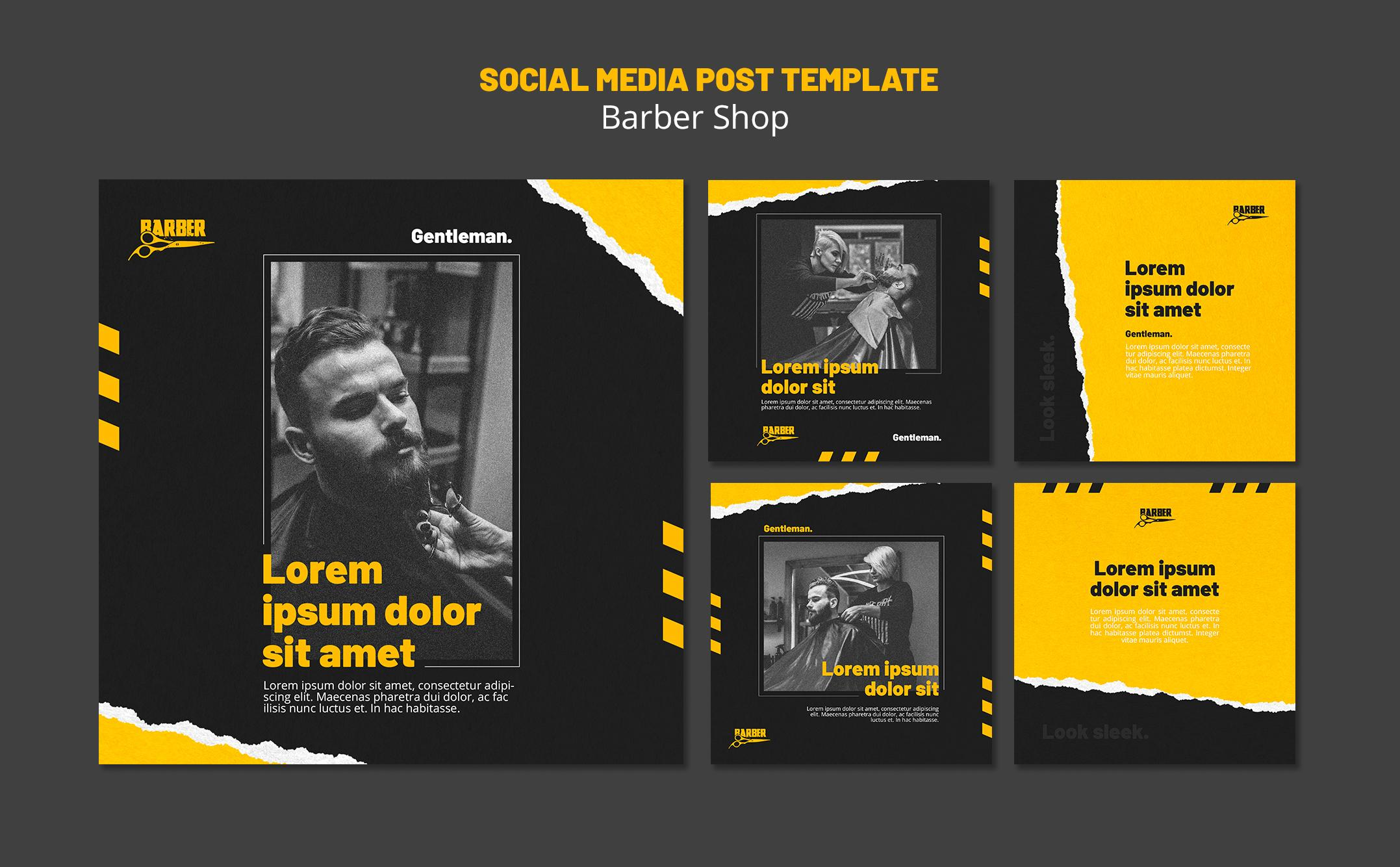 Instagram posts collection for barber shop business Free Psd