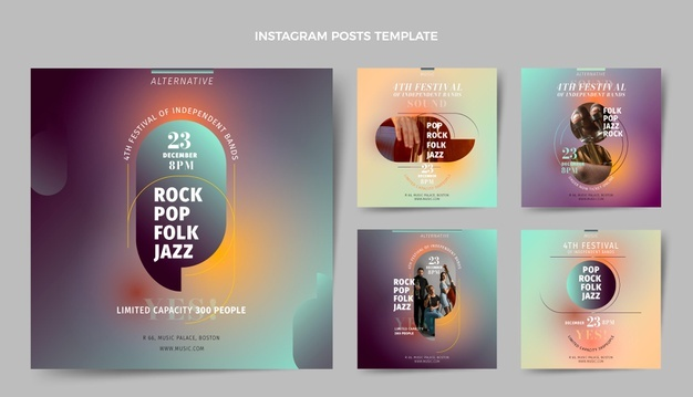 Gradient texture music festival instagram posts collection Free Vector